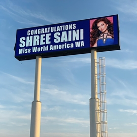 Indian – American Miss World America Washington Shree Saini will be seen by 18 million people via Jumbotron billboard